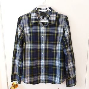 J. CREW Green Plaid Button Down Shirt, Size 8